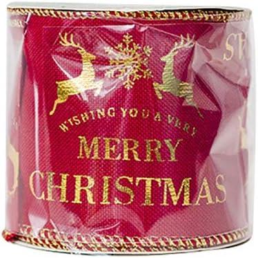 Kanggest.Cintas Navidad Decoración DIY Manualidades Lazos Embalaje Regalo Cajas Flores Arbol Navidad Fiestas Navidad Hogar Adornos Navideños Dorada Roja-7cm*270cm: Amazon.es: Hogar