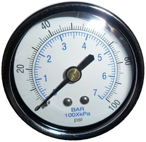 New Air Pressure Gauge for air compressor WOG water oil gas 2 Dial Center Back Mount 1//4 npt 0-200