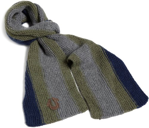 True Religion Men's Vertical Stripe Scarf, Navy, One Size