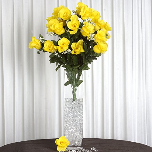 Efavormart 96 Extra Large Artificial Roses Buds Bushes for DIY Wedding Bouquets Centerpieces Party Home Decorations - Yellow
