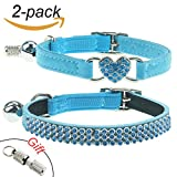 2Pcs Breakaway Bling Cat Collars with Bell & Pet Collar Tag, Small Dog Puppy Velvet Safety Collar Elastic Adjustale Neck 8''-11'',Blue