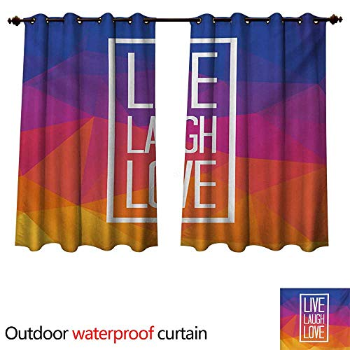 WilliamsDecor Live Laugh Love 0utdoor Curtains for Patio Waterproof Famous Slogan Framework with Triangulated Low Poly Effects Colorful Print W96 x L72(245cm x 183cm) (Poly Brocade)