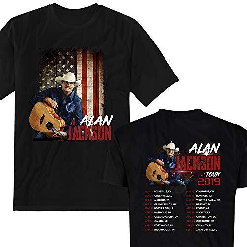 Alan-Jackson Cowboy Vintage Distressed Flags 2019 USA T-Shirt Black