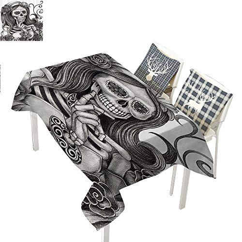 WilliamsDecor Skulls Decorations Collection Holiday Tablecloth Sexy Skull Girl with Floral Veil Ceremony Day of The Dead Bride Skeleton Lady ArtGrey White Rectangle Tablecloth W60 xL120 inch