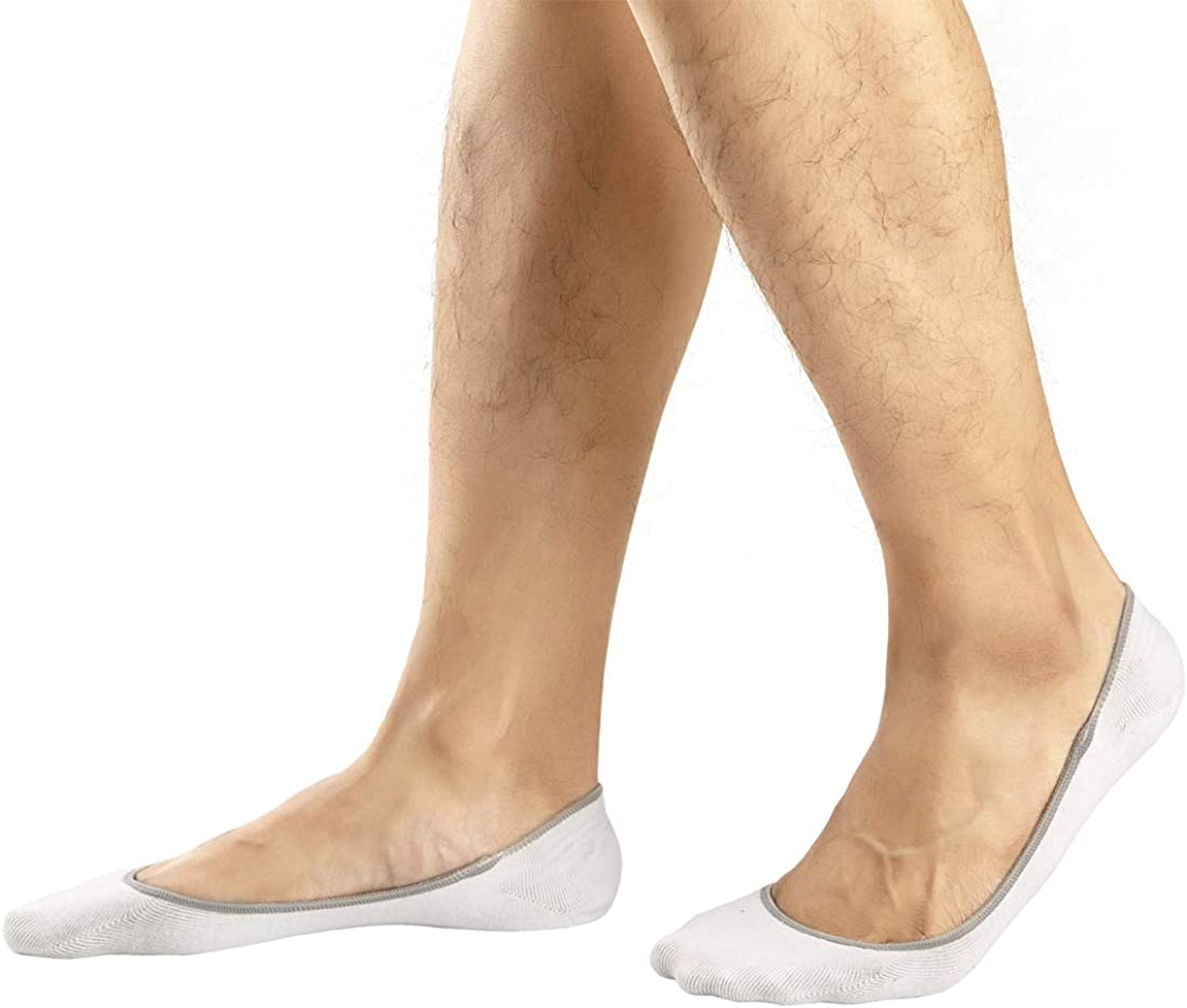 6 Pairs Invisible Liner Socks Footies with Silicone Grip Casual No Show Socks for Men