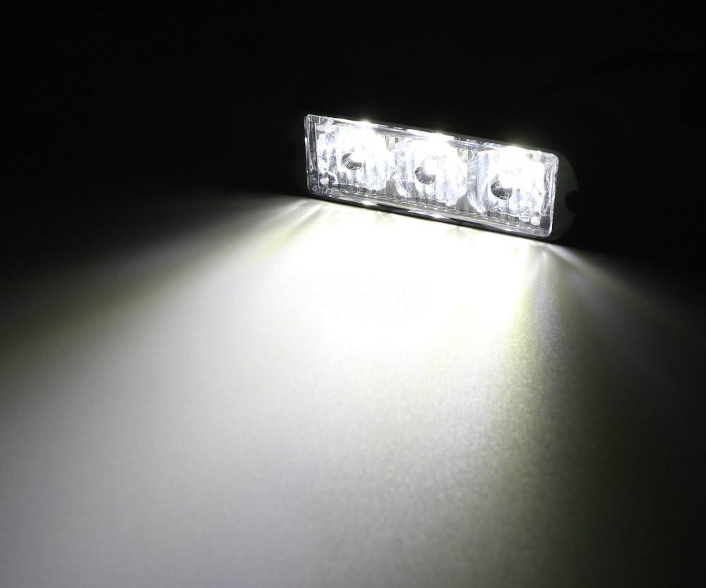 Led Blitzer Wei/ß HEHEMM 3 Led Warnleuchte LKW Led Bar Lichtleiste Led Frontblitzer Auto-Notlicht Blinklichtleiste f/ür Gitter Oberes Dachlicht12V-24V