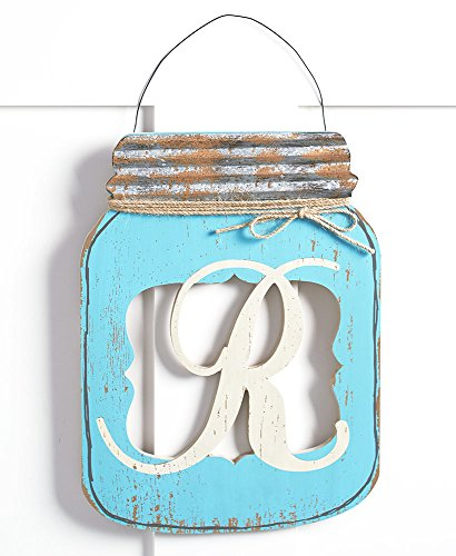 Decorative Mason Jar Door Hanger-Topped with a Lid Made of Rusted Metal and Decorative Wire Hanger-Perfect for to Hang on Any Wall of Home,Indoors or Out- Multiple Design Available ()