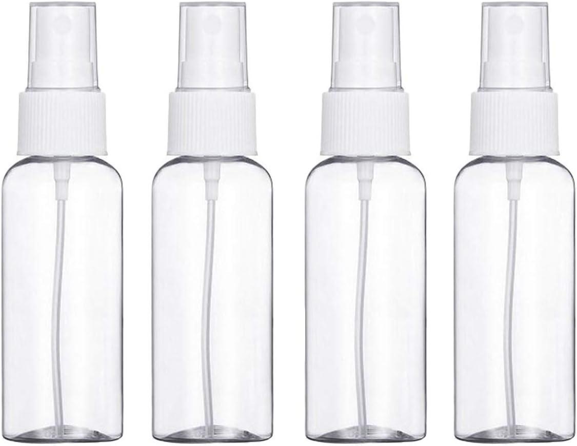 4 botellas de viaje, botella vacía transparente de 30 ml, atomizador fino, pulverizador cosmético, color blanco