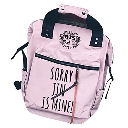 Casual Boys Canvas BTS Backpack Fashion Laptop Bangtan KPOP Schoolbag Bags Jin Pink Daypack x8w6qTnaR5