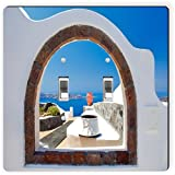Rikki Knight 8976 Double Toggle Greek White Washed Window to Paradise Design Light Switch Plate
