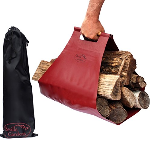 Beville Gardens LUG-A-LOG WOOD CARRIER TOTE for Fireplaces, Camping, Cabins, and Bonfires! Extra Large, Strong & Rugged for Easy Carrying from Woodpile to Fire, plus Storage Bag! by Beville Gardens