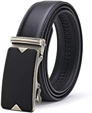 Men's Belt, ITIEZY Ratchet Leather Dress Belt with Automatic Buckle in Gift Box,Trim to