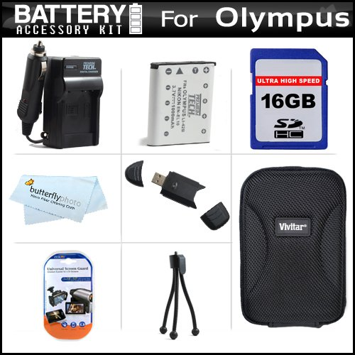 16GB Accessory Kit For Olympus VR-320 VR-310, Stylus VG-180 Digital Camera Includes (Li 42b Lithium Battery)