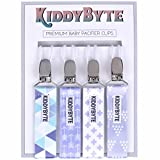Premium Baby Pacifier Clip for Boy by KiddyByte - 4 Pack Teething Clips Accessory for Babies & Infants - Soft, Wrinkle Free Fabric with Metal End to Holds Binky, Soothie & Toys