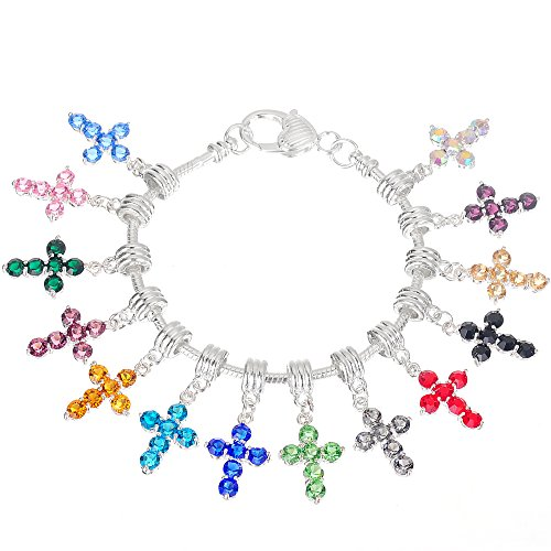 RUBYCA 10Pcs Mix Assortment Cross Dangle Pendant Charm Beads Crystal Rhinestone European Bracelet (Cross Pendant Craft)