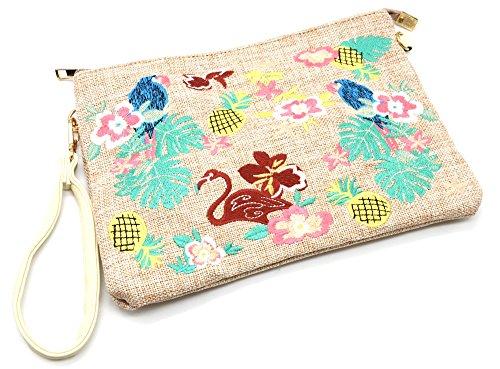 Oh My Shop PCH60 - Pochette Sac Moyen Bandoulière Effet Jean Denim Beige avec Motifs Exotiques Fleurs Feuilles