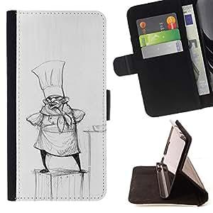 /Skull Market/ - COOK PENCIL DRAWING HAT SMALL MAN KITCHEN For Samsung Galaxy Note 4 IV - Caja de la carpeta del tir???¡¯???€????€??????&aci