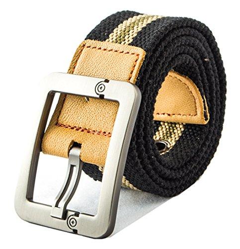 QISHI YUHUA PD Mens Fashion Casual Black Stripes Canvas Pin Buckle Belt