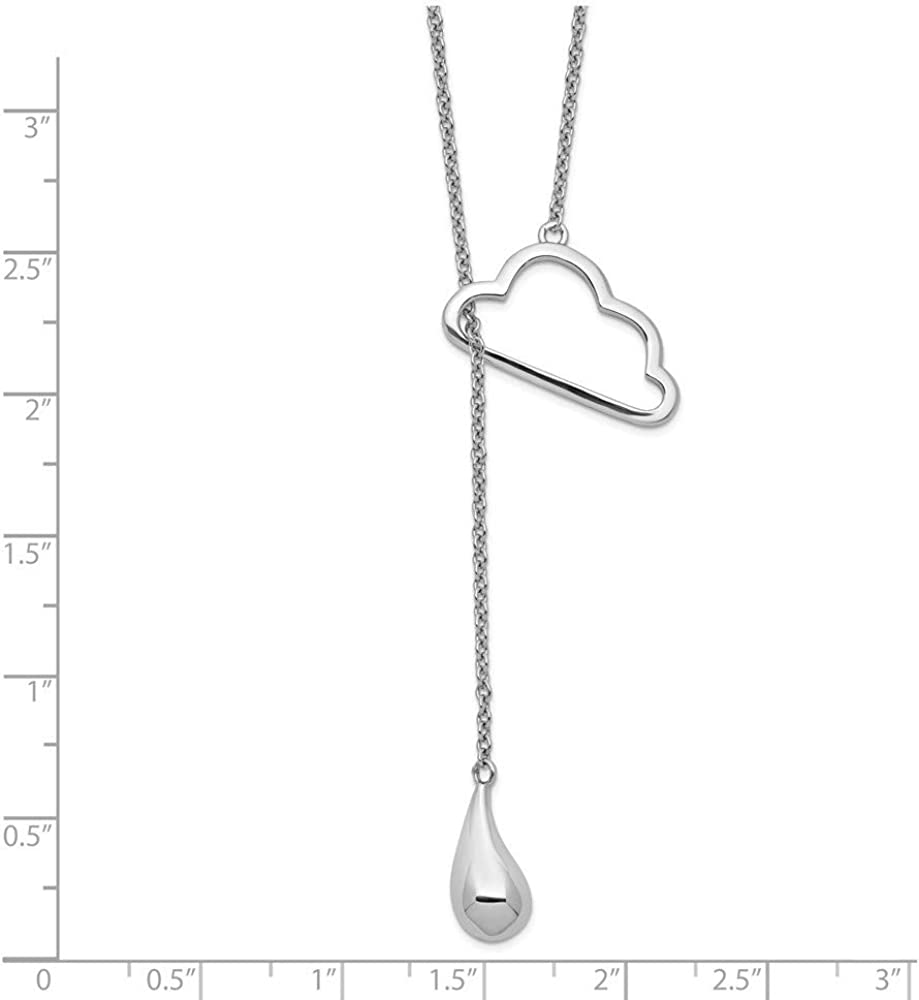 Necklace 925 Sterling Silver Rhod-plated Polished Cubic Zirconia With 2inch Ext 18 Inch
