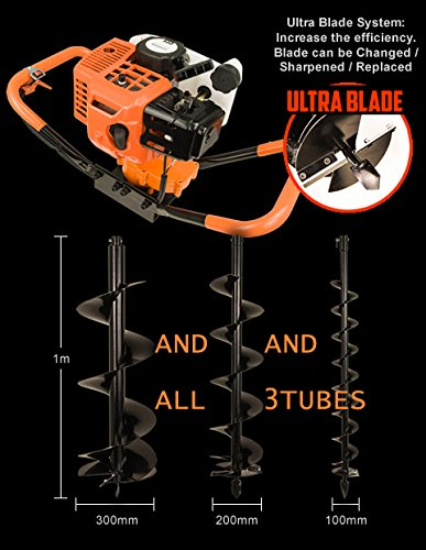 Earth Auger Post Pole Borer 82 CC 3 Drills Bits 100 200 300 4'' 8'' 12'' Ultrasharp with extensions Professional by Horti Power (Image #8)