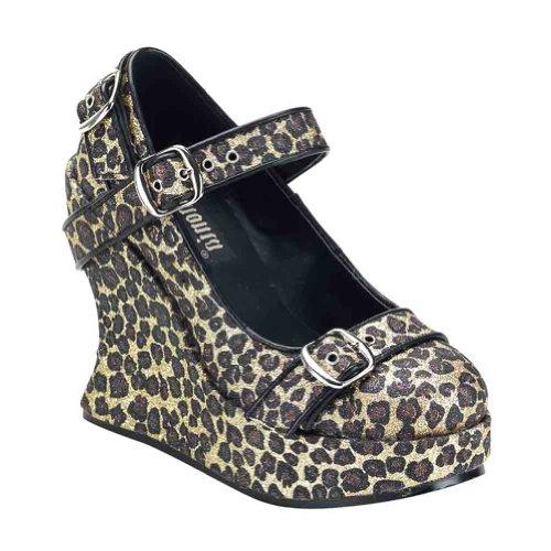 Pleaser Womens Bravo-10g Wedge Sandaal Cheetah Glitter