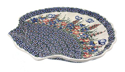 - Polish pottery garden butterfly shell serving dish