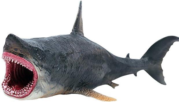FLORMOON Juguetes Megalodon Figura de Ballena Realista Pintado a Mano Estatuilla de Tiburon Figuras de acción de Animales Colección de Regalos ...
