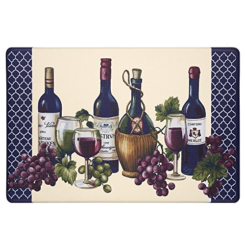 Diamond Wine Merlot Red (1 Piece 18x30 Beige Blue Purple Green Grapes Chateau Wine Area Rug Rectangle, Indoor Kitchen Merlot Red Wine Carpet Mat, Vintage Print Pattern Novelty Alcohol Anti-fatigue, PVC, Synthetic)