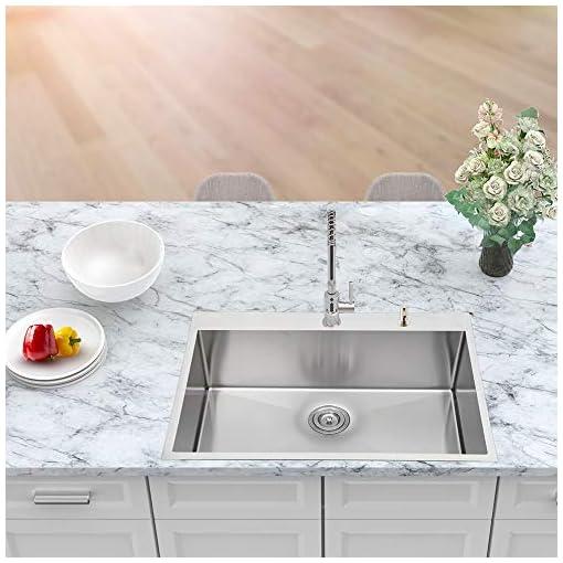 Kitchen 28 Drop Sink – Sarlai 28″ x 22″ Kitchen Sink Drop in Topmount Stainless Steel Kitchen Sink 16 Gauge Round Corner Deep Single Bowl Sink Basin modern kitchen sinks