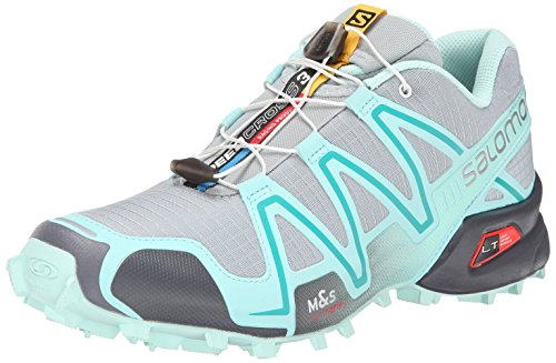 Salomon Women's Speedcross 3-W, Light Onix/Topaz Blue/Dark Cloud, 8.5 M US