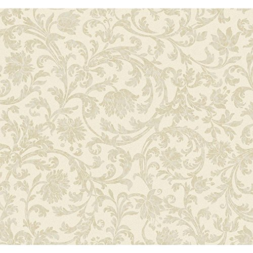 York Wallcoverings Beige Book Text Scroll Wallpaper Memo Sample, 8 by 10-Inch, White