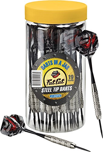 Fat Cat Darts in a Jar: Steel Tip Darts with Storage/Travel Container, 19 Grams (Pack of 15, 21 and 27 Darts)