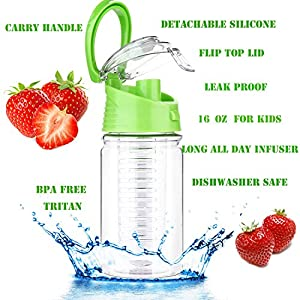 Weshine Flavor It 16 Ounce Kids Infuser Water Bottle(Green)