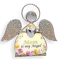 Mamá Vaso Ángel Ángel Vitrales Tealight Candelero - Madre es mi ángel - Regalos de cumpleaños para mamá - Vitrales Ángel