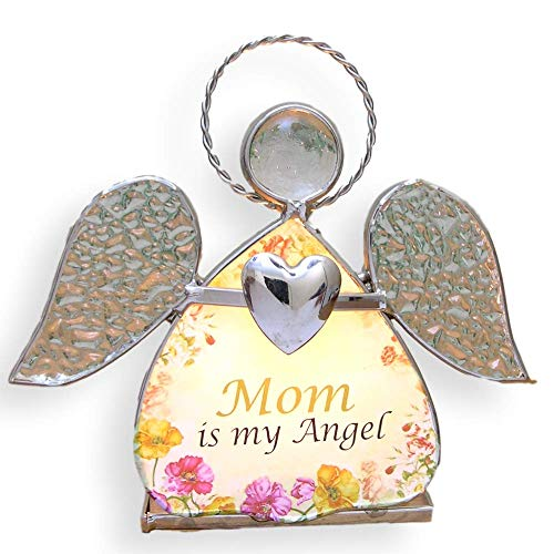 BANBERRY DESIGNS Mother Candle Holder - Stained Glass Angel with Mom is My Angel Saying - Glass Wings and Floral Design Candleholder - Mom Gifts (Gift Ideas For Step Children On Wedding Day)