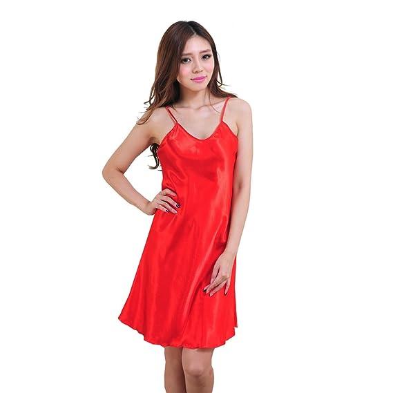mujer Camisón Pijama Satén Salto de Cama Encaje,Ropa de Dormir para Mujer, Lencería