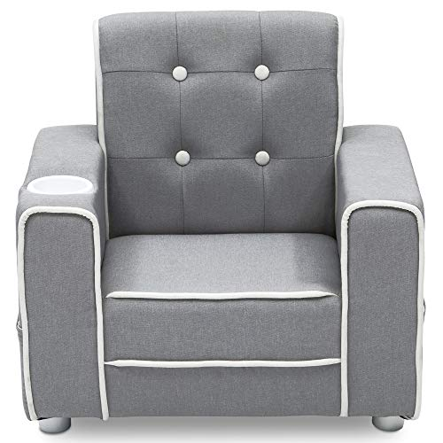 (Delta Children Chelsea Kids Upholstered Chair with Cup Holder, Soft Grey)