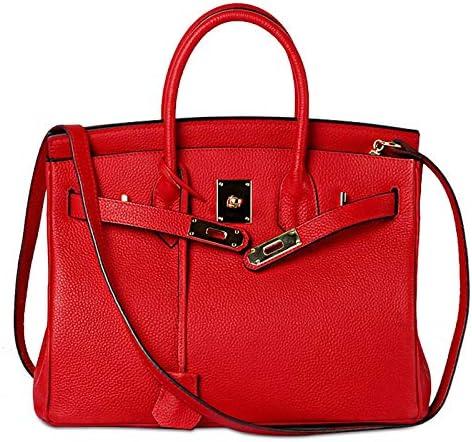 Mdsfe Nuova Borsa da Donna in Vera Pelle Borsa a Tracolla da Donna Famosa di Design Borsa a Tracolla da Donna Borsa a Tracolla Casual con Chiusura Rosa Rossa, S (25X19X14cm)