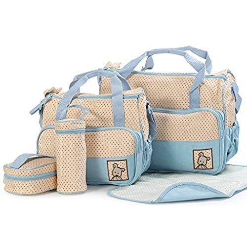 Edealing 1 Conjunto bebé Red de asas del pañal Hombro Bolsas Durable Nappy Bolsa Momia madre del bebé bolsa de mamá Azul