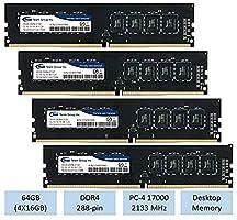 TeamGroup 64GB kit (4 X 16GB) DDR4 2133 MHz DIMM 288 Pin Desktop Memory RAM - TED416G2133C1501