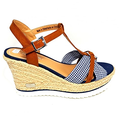 SPROX Womens Navy Platform Sailor Style High Wedge Sandals sZPs3Do28K