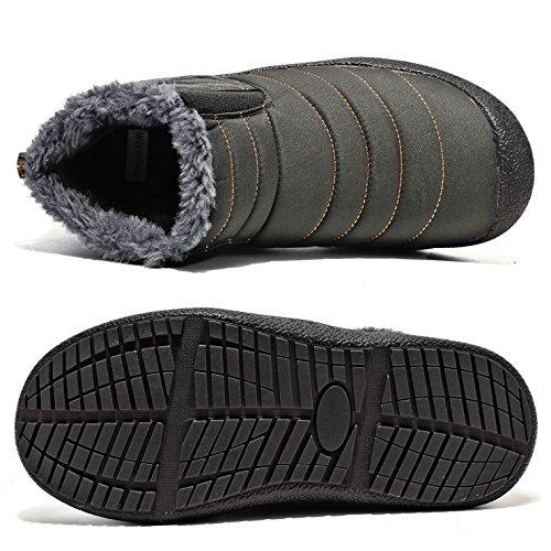 CIOR Herren und Damen Schneeschuhe Fell Gefüttert Winter Outdoor Slip On Schuhe Stiefeletten 2. Grau / High Top
