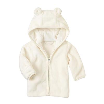 iumei Newborn Baby Boys Girls Long Sleeves Zipper Bear Ears Hooded Jacket Coat Outwear