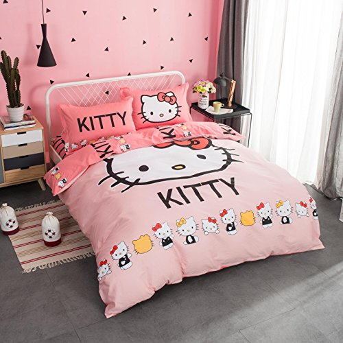 100% Cotton Hello Kitty Duvet cover, Pillow case, Fitted sheet, Twin