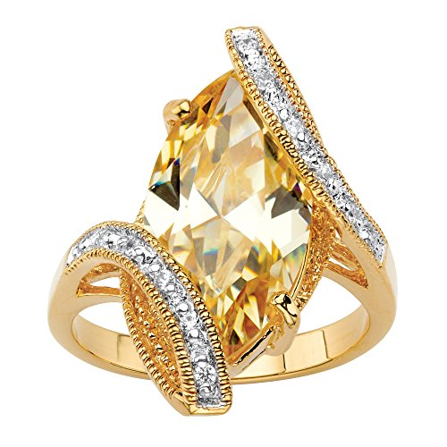 Palm Beach Jewelry 18K Yellow Gold-plated Marquise Cut and Pave Canary Cubic Zirconia Bypass Ring Size (Cubic Zirconia Bypass Ring)