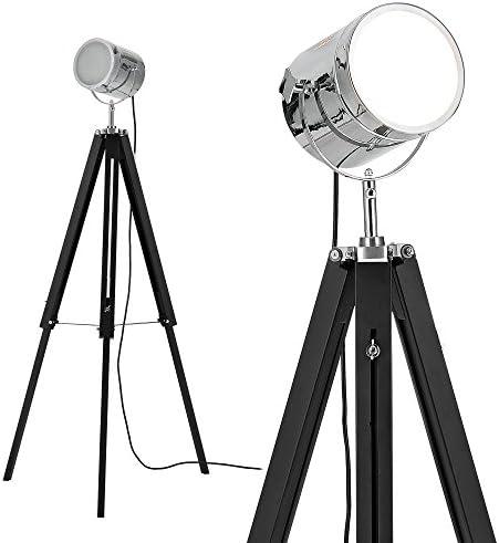 [lux.pro] lampadaire tripode (1 x socle E27)(64cm - 140cm) design industriel trépied tripode tripode télescope chrome lampe sur pied luminaire