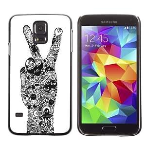 CaseCaptain Carcasa Funda Case - Samsung Galaxy S5 V SM-G900 / Cool Peace Hand Tattoo Art /
