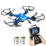 Potensic F181DH 5.8GHz RC Drone Quadcopter With 720P HD Live Camera RTF Altitude Hold UFO & Newest Hover Function,5.8Ghz FPV LCD Screen Monitor(Blue)