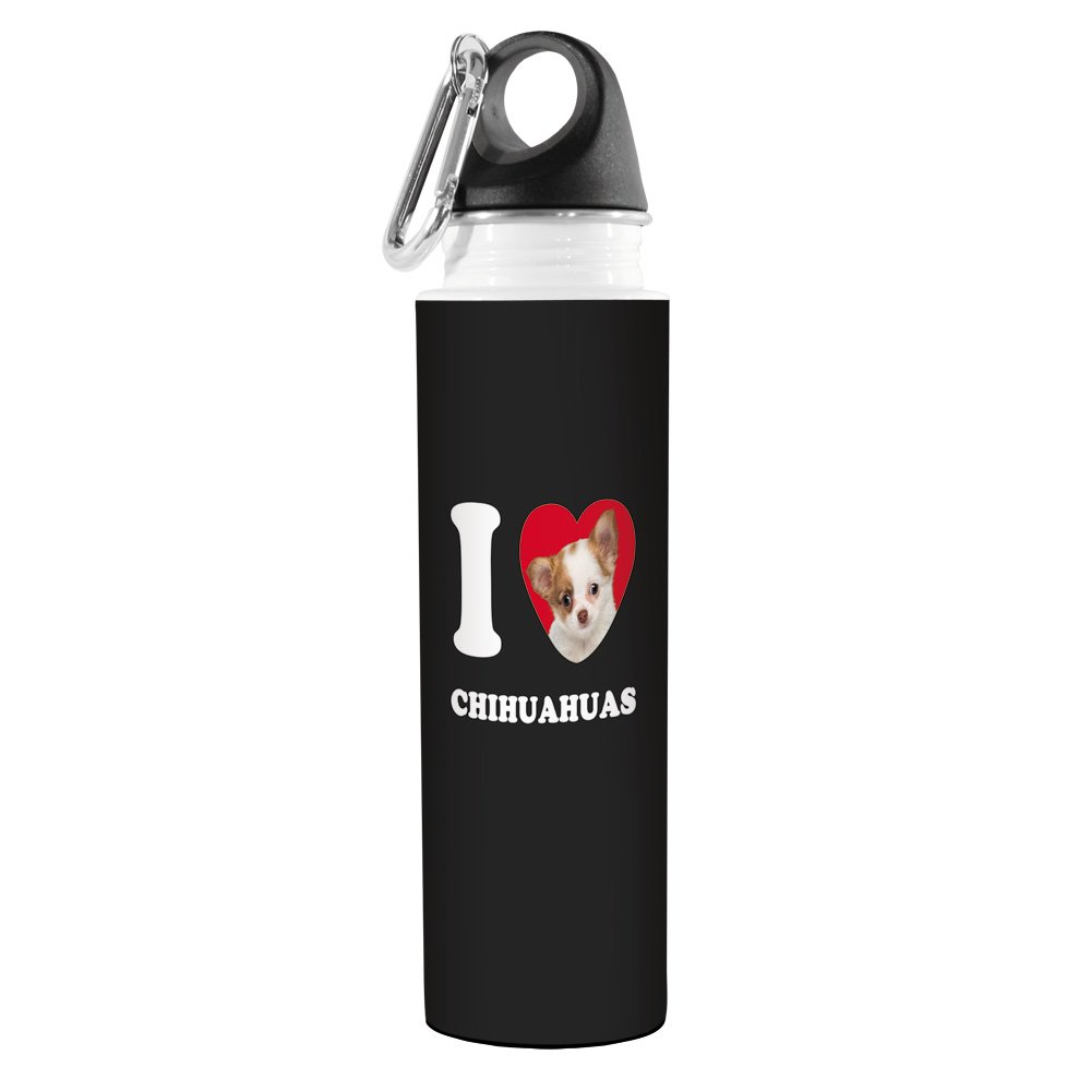 Tree-Free Greetings VB49032 I Heart Chihuahuas Artful Traveler Stainless Water Bottle Tan and White Tree Free 18-Ounce