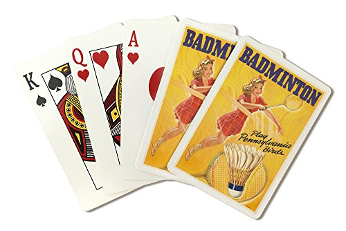 Badminton Vintage Poster (artist: Swischer) USA c. 1946 (Playing Card Deck - 52 Card Poker Size with Jokers)